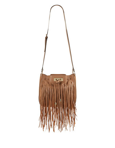 Calvin Klein Fringed Leather Crossbody-BROWN-One Size