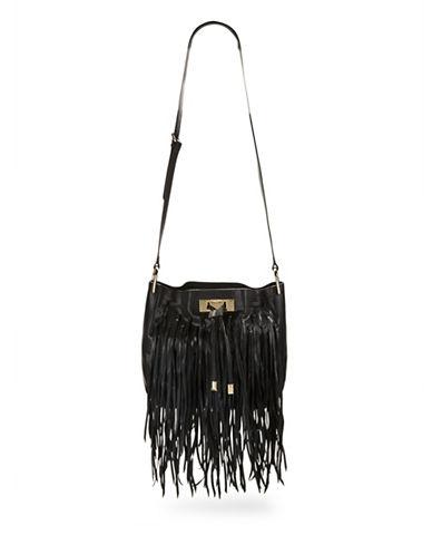 Calvin Klein Fringed Leather Crossbody-BLACK-One Size