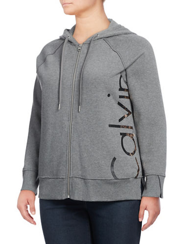 Calvin Klein Performance Plus Logo Full-Zip Hoodie-BLACK-1X 88937137_BLACK_1X