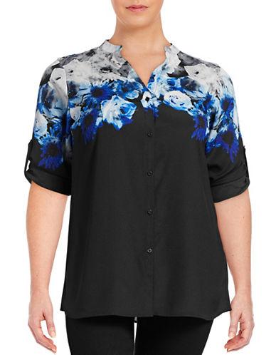Calvin Klein Plus Floral-Layer Print Roll-Sleeve Blouse-GREY-3X 88719492_GREY_3X