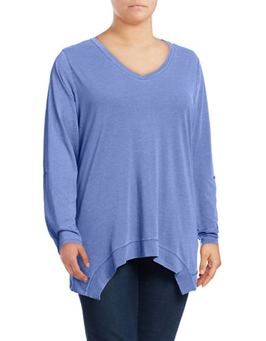 Calvin Klein Performance Plus Sharkbite Roll-Tab Raw-Edge Top-BLUE-3X 88937136_BLUE_3X