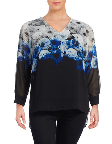 Calvin Klein Plus Printed V-Neck Hi-Lo Blouse-GREY-2X 88719515_GREY_2X