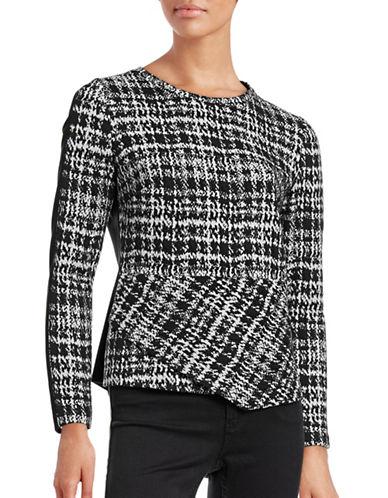 Calvin Klein Folded-Hem Jacquard Combo Top-BLACK-Medium 88712714_BLACK_Medium