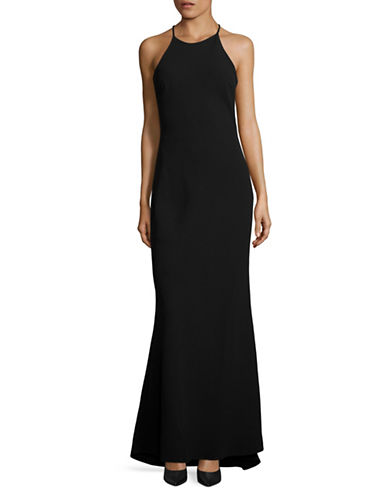 Calvin Klein Halter Crepe Fit-and-Flare Gown-BLACK-10