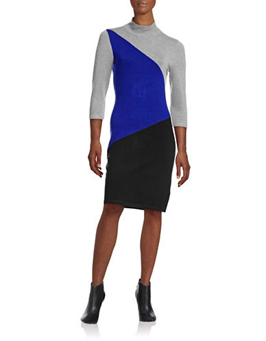 Calvin Klein Colourblock Sweater Dress-GREY MULTI-Large 88712631_GREY MULTI_Large