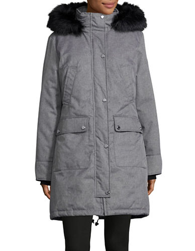 Calvin Klein The Coat Edit Down Anorak with Faux Fur Trim-GREY-X-Small 88594033_GREY_X-Small