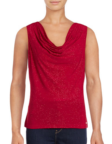 Calvin Klein Rhinestone Cowl Neck Top-RED-Large 88771395_RED_Large