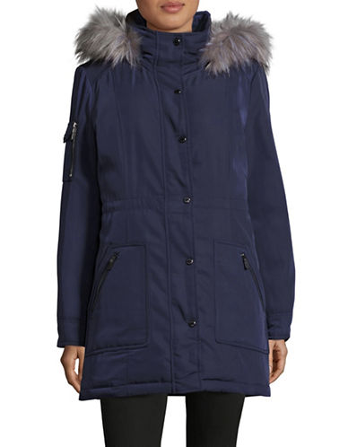 Calvin Klein Down Anorak with Faux Fur Trim-BLUE-X-Small 88594028_BLUE_X-Small