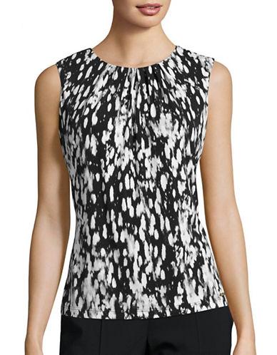 Calvin Klein Printed Pleat Neck Camisole-BLACK MULTI-X-Large 88771411_BLACK MULTI_X-Large