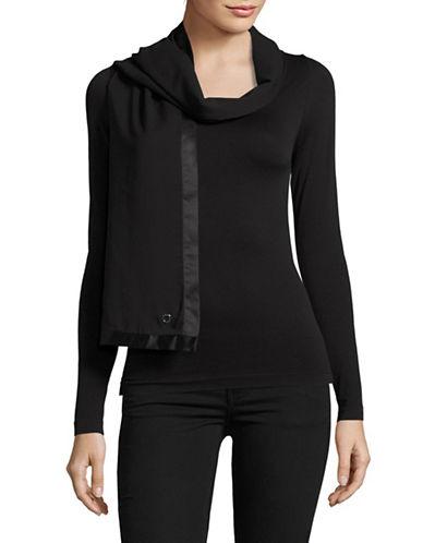 Calvin Klein Satin-Edge Chiffon Scarf-BLACK-One Size
