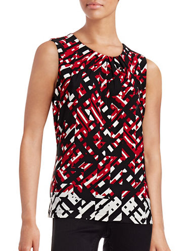Calvin Klein Pleat Neck Print Blouse-RED MULTI-Large 88771405_RED MULTI_Large