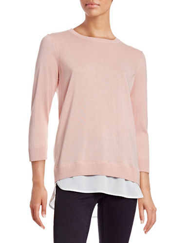 Calvin Klein Crew Neck Twofer Top-PINK-X-Small 88703920_PINK_X-Small