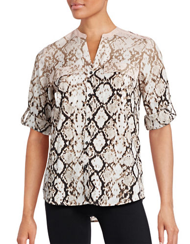 Calvin Klein Printed Roll-Sleeve Blouse-PINK MULTI-Small 88676260_PINK MULTI_Small