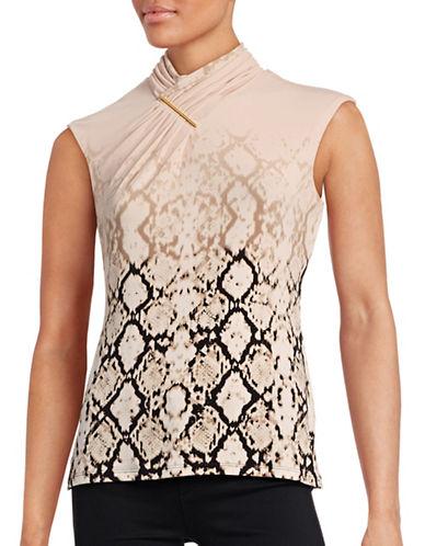 Calvin Klein Printed Sleeveless Wrap-Collar Top-PINK-Medium 88676301_PINK_Medium