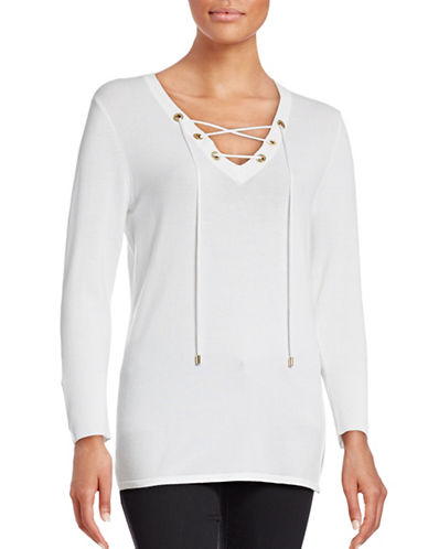 Calvin Klein Lace-Up V-Neck Knit Top-WHITE-Large 88676322_WHITE_Large
