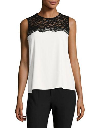 Calvin Klein Colourblock Lace Top-WHITE/BLACK-Large