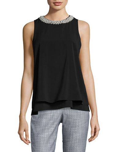 Calvin Klein Beaded Neck Sleeveless Top-BLACK-Small