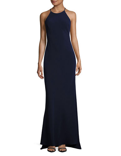 Calvin Klein Halter Crepe Fit-and-Flare Gown-BLUE-12