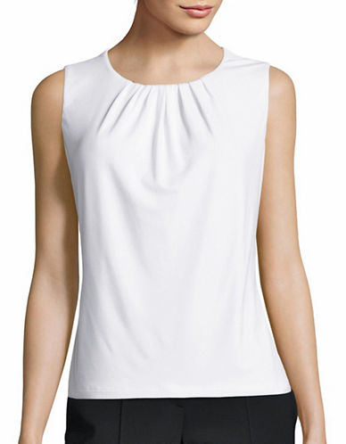 Calvin Klein Pleated Neck Blouse-WHITE-Medium