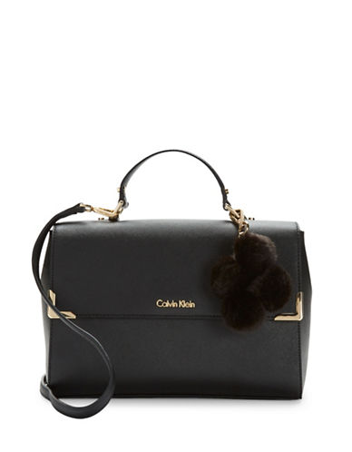 Calvin Klein Saffiano Leather Satchel with Faux Fur Charm-BLACK-One Size 88748469_BLACK_One Size