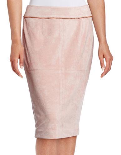 Calvin Klein Faux Suede Zip-Trim Skirt-PINK-4