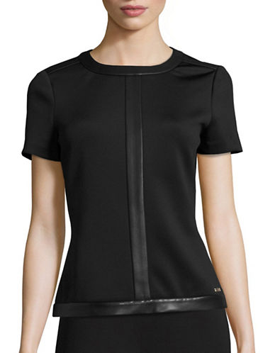 Calvin Klein Faux Leather Trim Scuba Top-BLACK-X-Large 88614670_BLACK_X-Large