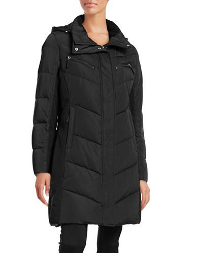 Calvin Klein Chevron Down Hooded Walker Coat-BLACK-Medium 88531121_BLACK_Medium