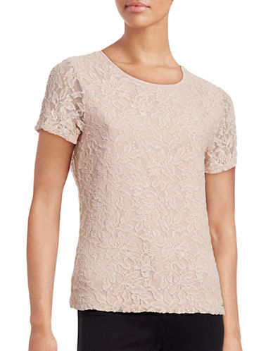 Calvin Klein Lace Overlay Tee-PINK-Small 88614717_PINK_Small