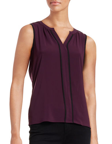 Calvin Klein Framed Sleeveless Split Neck Top-PURPLE-X-Large plus size,  plus size fashion plus size appare