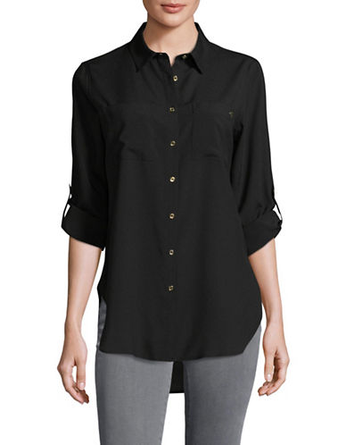Calvin Klein Button Down Shirt-BLACK-X-Small