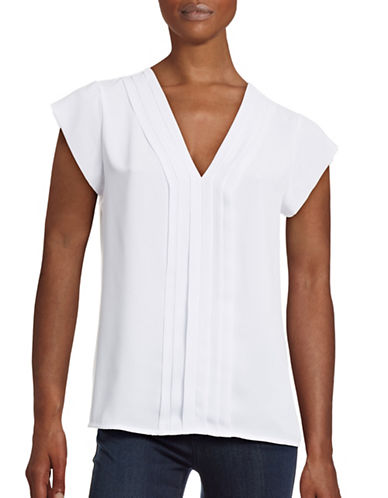 Calvin Klein Pleated Cap Sleeve Top-WHITE-X-Small 88527637_WHITE_X-Small