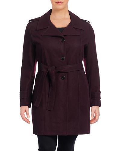 Calvin Klein Plus Melton Wool-Blend Trench Coat-RED-3X