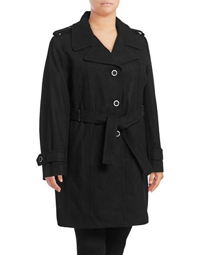 Calvin Klein Plus Melton Wool-Blend Trench Coat-BLACK-0X