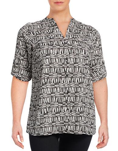Calvin Klein Plus Printed Roll-Sleeve Blouse-BROWN-0X 88582937_BROWN_0X