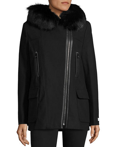 Calvin Klein Fur Trim Wool Coat-BLACK-X-Small 88531231_BLACK_X-Small