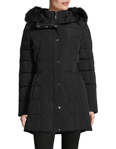 Calvin Klein Hooded Down Coat with Faux Fur Trim-BLACK-X-Large 88531028_BLACK_X-Large