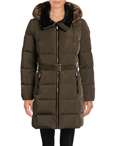Calvin Klein Belted Down Jacket with Faux Fur-GREEN-X-Small 88988231_GREEN_X-Small