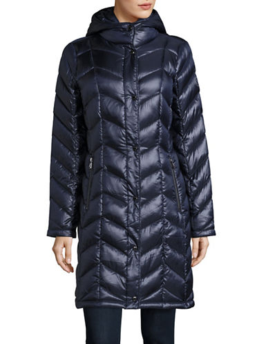 Calvin Klein The Coat Edit Packable Down Chevron Puffer Jacket-INDIGO-X-Small