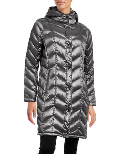 Calvin Klein The Coat Edit Packable Down Chevron Puffer Jacket-GRANITE-Small