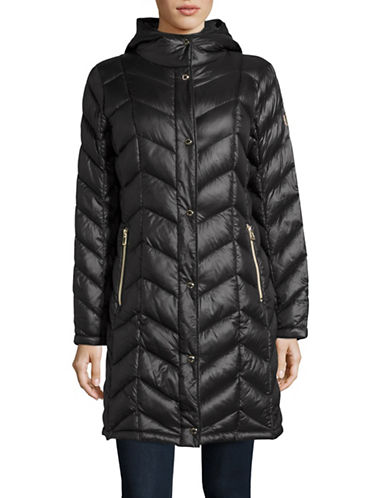 Calvin Klein The Coat Edit Packable Down Chevron Puffer Jacket-BLACK-Small