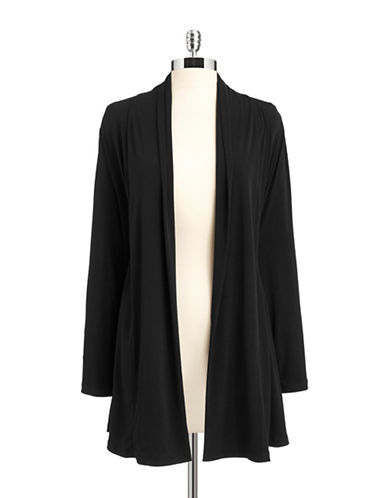Calvin Klein Shawl Collar Open Front Cardigan-BLACK-Medium