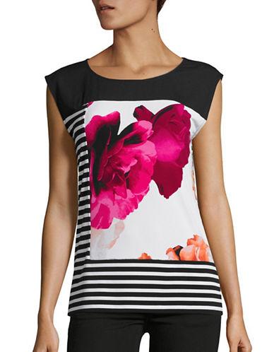 Calvin Klein Stripe Floral Sleeveless Blouse-WHITE MULTI-Large 88617100_WHITE MULTI_Large