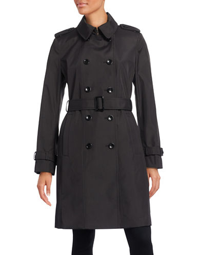 Calvin Klein Double-Breasted Trench Coat-BLACK-X-Small 88530994_BLACK_X-Small