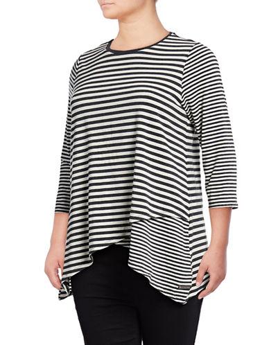 Calvin Klein Performance Plus Striped Sharkbite T-Shirt-WHITE MULTI-1X 88737820_WHITE MULTI_1X