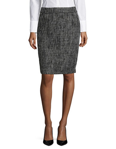 Calvin Klein Straight Pencil Skirt-BLACK/WHITE-6