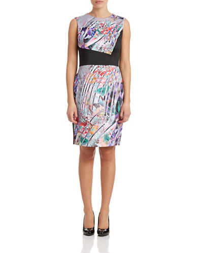 Betsey Johnson Multi-Print Blocked Sheath Dress-PURPLE-8