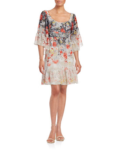 Betsey Johnson Floral Poppy Print Boho Dress-BEIGE-2