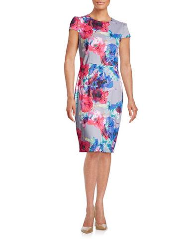 Betsey Johnson Floral Print Scuba Pencil Dress-BLUE-14