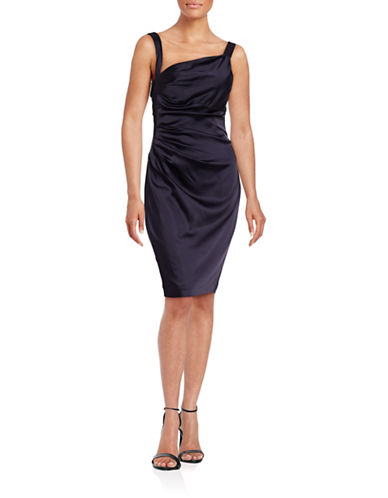 Vera Wang Side Ruched Sheath Dress-BLUE-12