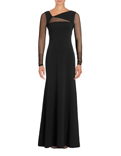 Vera Wang Long Sleeve Mesh Sheath Gown-BLACK-6